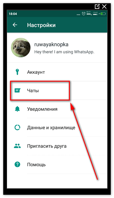 Раздел Чаты WhatsApp